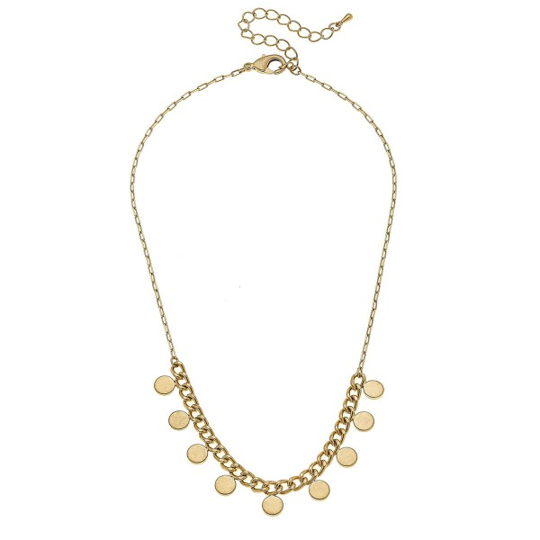 "Curb Chain Disc Bead Necklace in Worn Gold.  - Approximately 16"" L - 3"" Adjustable Extender"