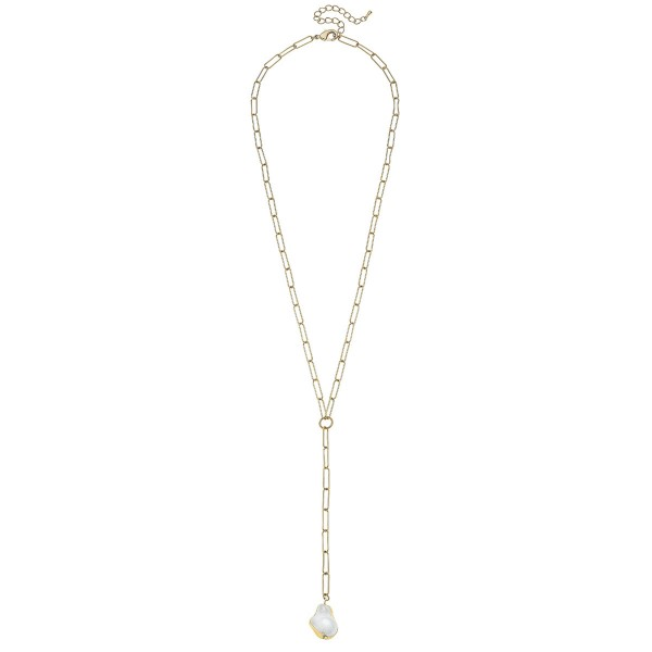 Wholesale ivory Pearl Paperclip Chain Y Necklace Gold Pearl L Adjustable Extende