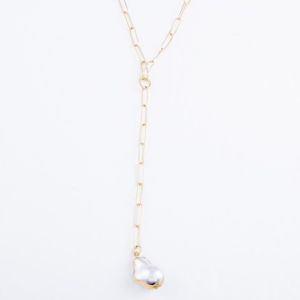 """Ivory Pearl Paperclip Chain Y Necklace in Gold.  - Pearl .75"""" - Approximately 34"""" L  - 3"""" Adjustable Extender"""