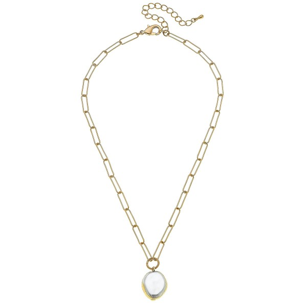 """Paperclip Chain Peal Necklace in Worn Gold.  - Pendant .75"""" - Approximately 16"""" L - 3"""" Adjustable Extender"""