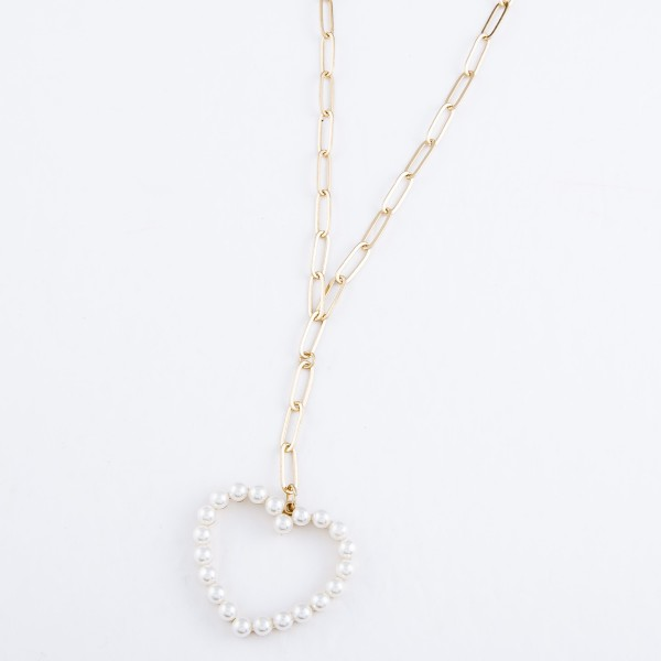 "Paperclip Chain Y Necklace Featuring Ivory Pearl Heart Pendant in Gold.  - Pendant 1.5""  - Approximately 16"" L - Approximately 22"" L Overall - 3"" Adjustable Extender"