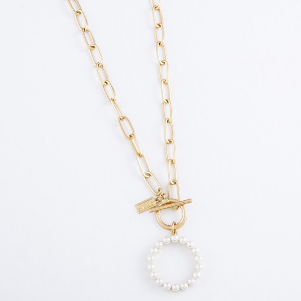 "Chain Link Toggle Bar Necklace in Worn Gold Featuring Ivory Pearl Ring Pendant.  - Pendant 1"" - Approximately 16"" L"