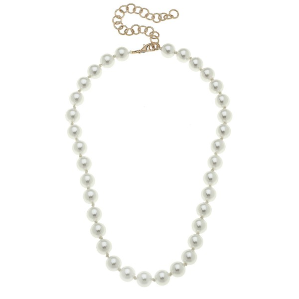 "Short Ivory Pearl Beaded Necklace.  - 10mm Bead Size - Approximately 16"" L"