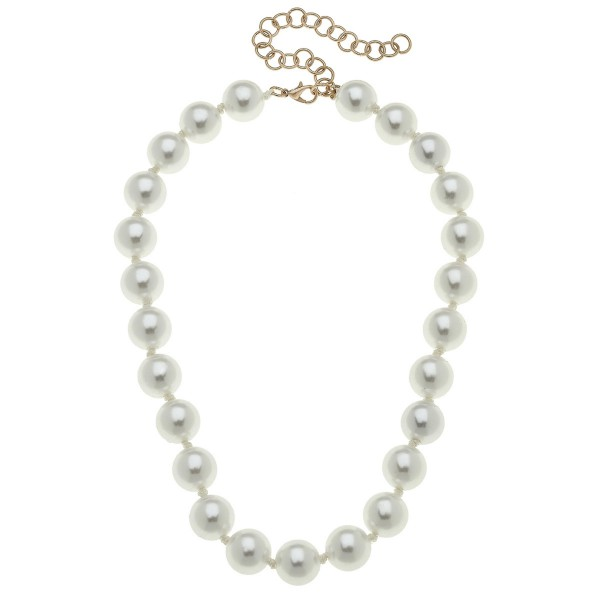 Wholesale ivory Pearl Beaded Statement Necklace mm Bead L Adjustable Extender