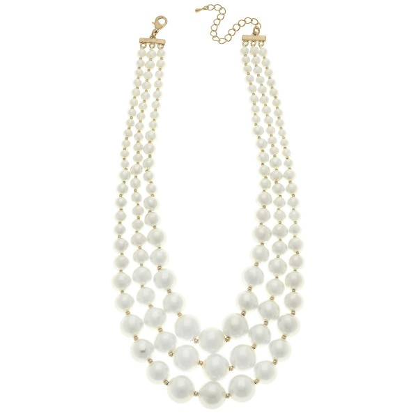 "Ivory Pearl Beaded Layered Statement Necklace.  - 4mm - 19mm Bead Sizes - Approximately 18"" L  - 2.5"" Adjustable Extender"