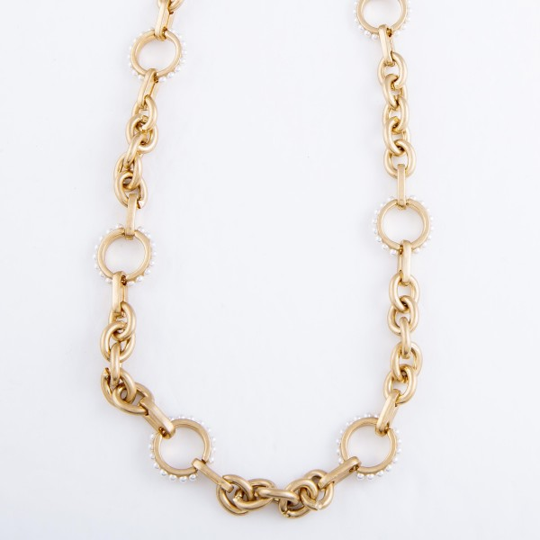 "Ivory Pearl Chain Link Necklace in Worn Gold.  - Approximately 16"" L - 3"" Adjustable Extende3r"