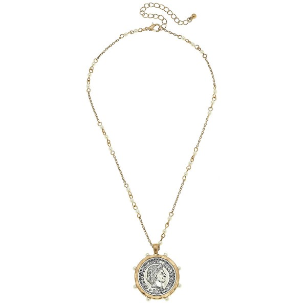 "Pearl Beaded Coin Pendant Necklace in Gold.  - Pendant 1.25"" in Diameter - Approximately 18"" L  - 2.5"" Adjustable Extender"