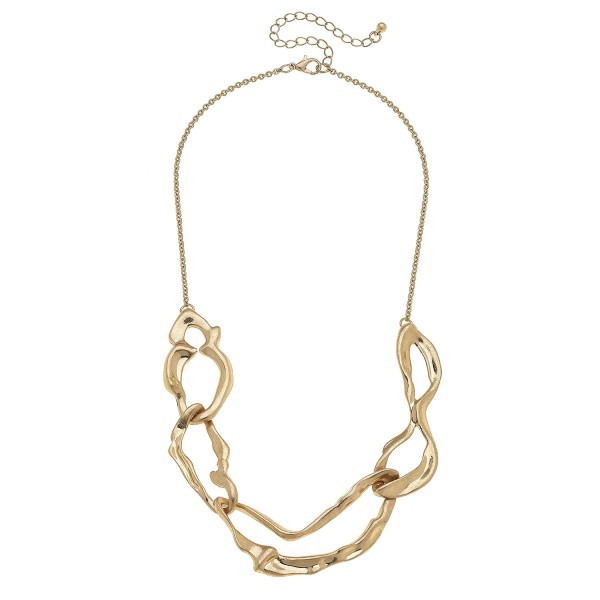 "Abstract Metal Nugget Necklace in Worn Gold.  - Approximately 18"" L - 3"" Adjustable Extender"