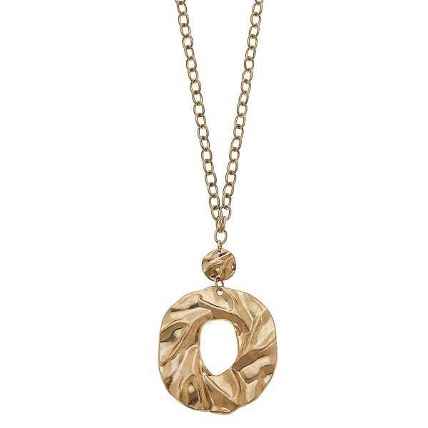 """Long Chain Link Necklace Featuring Abstract Pendant in Gold.  - Pendant 3""""  - Approximately 34"""" L - 3"""" Adjustable Extender"""