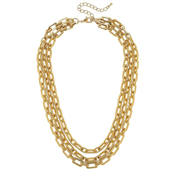 """Layered Chain Link Necklace in Worn Gold.  - Shortest Layer 16"""" L - Approximately 18"""" L Overall  - 3"""" Adjustable Extender"""