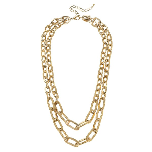 """Chunky Chain Link Layered Necklace in Worn Gold.  - Approximately 22"""" in Length - 3"""" Adjustable Extender"""