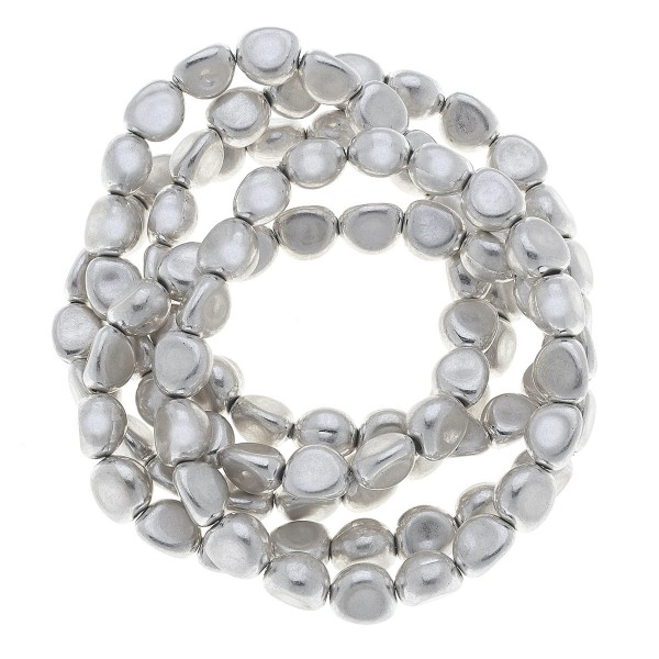 "Nugget Beaded Stretch Bracelet Set in Worn Silver.  - 7mm Bead Size - 5 Piece Per Set - Approximately 3"" in Diameter - Fits up to a 7"" Wrist"