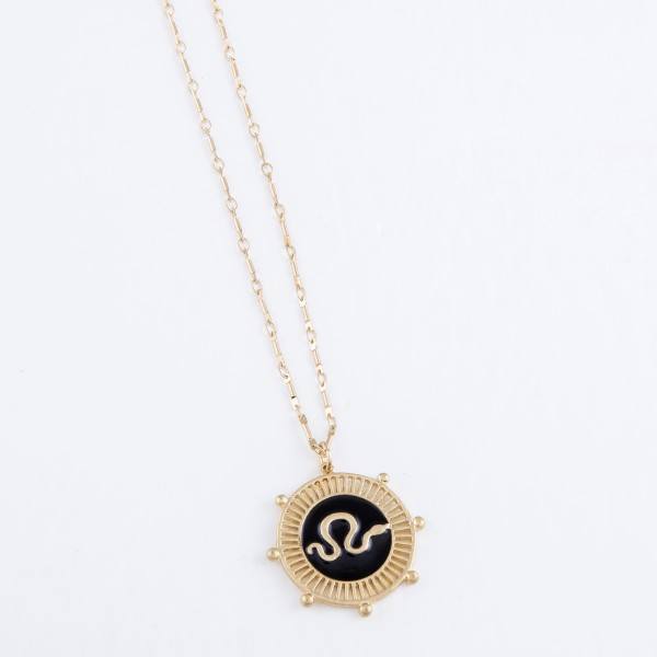 "Enamel Snake Pendant Necklace in Worn Gold.  - Pendant 1.25"" - Approximately 30"" L - 3"" Adjustable Extender"