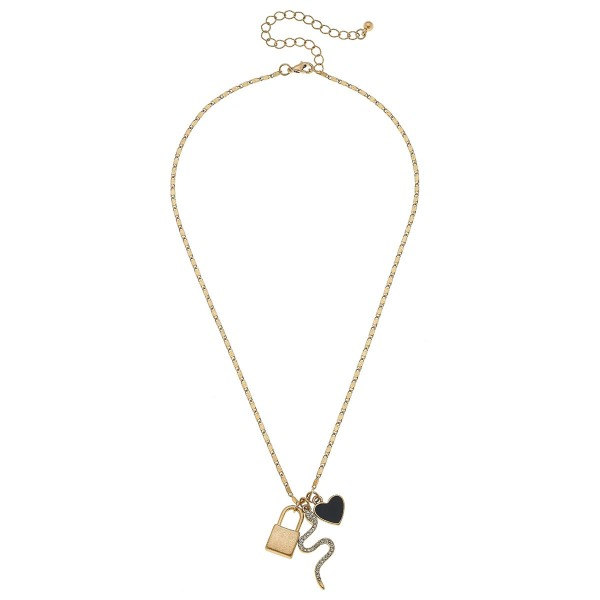"""Charm Necklace in Worn Gold Featuring Lock, Rhinestone Snake and Enamel Heart Charms.  - Approximately 16"""" L  - 3"""" Adjustable Extender"""