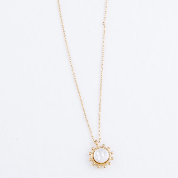 "Coin Pearl Pendant Necklace in Worn Gold.  - Pendant 1cm - Approximately 16"" L  - 3"" Adjustable Extender"