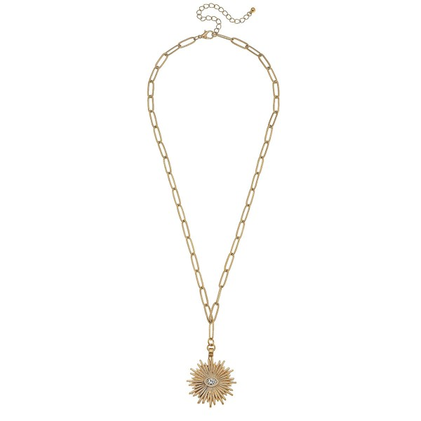 "Sunburst Paperclip Chain Necklace in Worn Gold Featuring Rhinestone Accent.  - Pendant 1.25"" - Approximately 24"" L - 3"" Adjustable Extender"