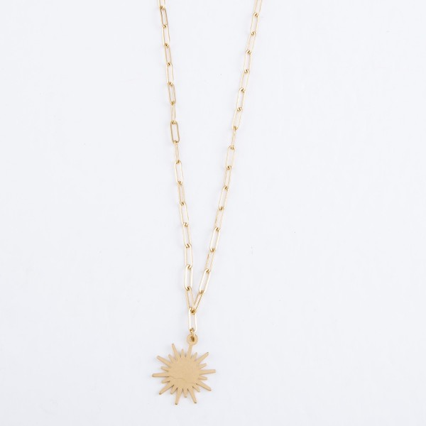 "Paperclip Chain Sunburst Pendant Necklace in Worn Gold.  - Pendant .75"" - Approximately 20"" L  - 3"" Adjustable Extender"