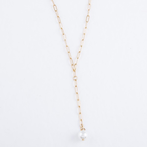 "Paperclip Chain Pearl Y-Necklace in Gold.  - Approximately 22"" L - 3"" Adjustable Extender"