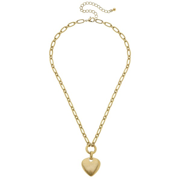 """Heart Pendant Necklace in Worn Gold.  - Pendant 1"""" - Approximately 18"""" L - 3"""" Adjustable Extender"""
