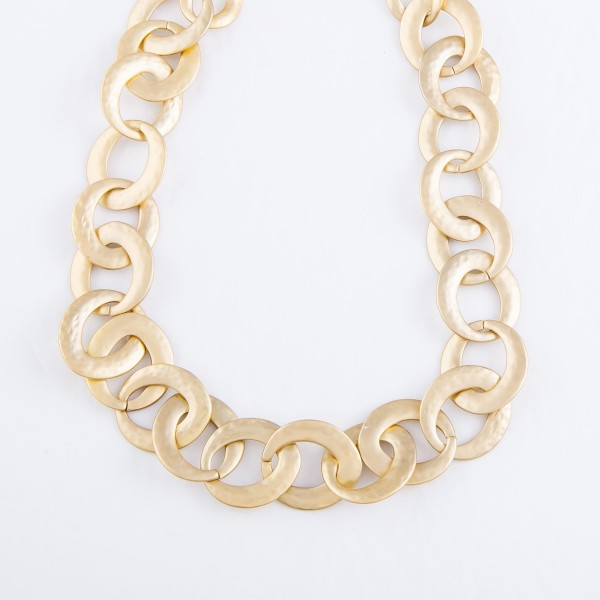"Circle Chain Link Necklace in a Satin Gold Finish.  - Approximately 16"" L  - 3"" Adjustable Extender"