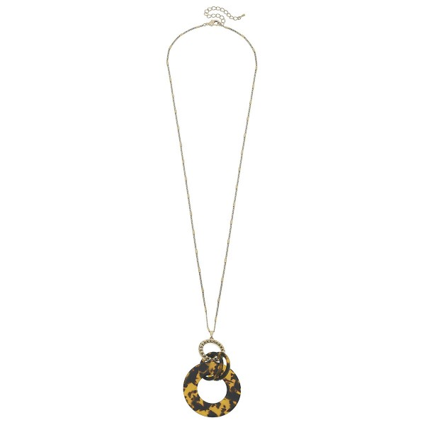 "Acrylic Resin Link Pendant Necklace in Worn Gold.  - Pendant 3""  - Approximately 36"" L  - 3"" Adjustable Extender"