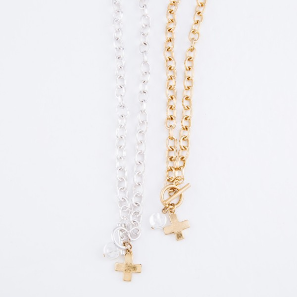 "Ivory Pearl Cross Chain Link Necklace in Gold.  - Front Toggle Bar Closure - Approximately 16"" L"