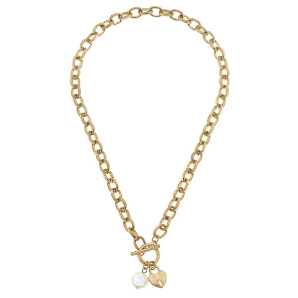 "Chain Link Ivory Pearl Heart Lock Necklace in Gold.  - Front Toggle Bar Closure - Approximately 16"" L"