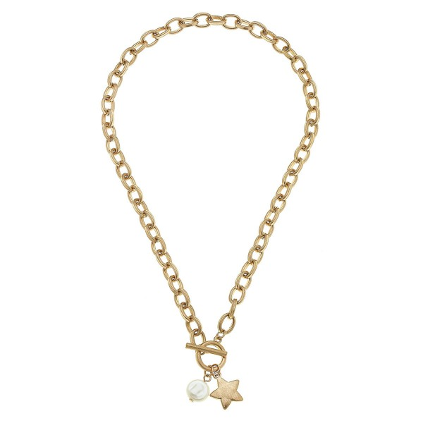 Wholesale chain Link Ivory Pearl Star Necklace Gold Front Toggle Bar Closure L