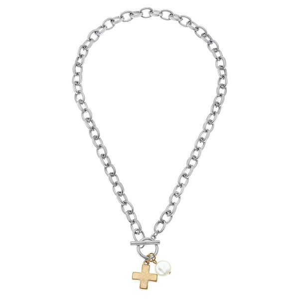 "Two Tone Ivory Pearl Cross Chain Link Necklace.  - Front Toggle Bar Closure - Approximately 16"" L"