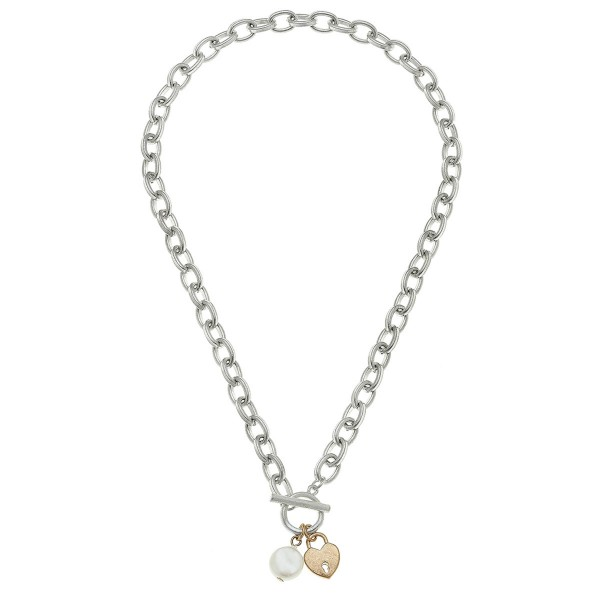 "Two Tone Chain Link Ivory Pearl Heart Lock Necklace.  - Front Toggle Bar Closure - Approximately 16"" L"