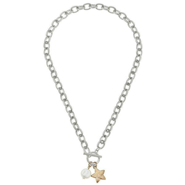 "Two Tone Chain Link Ivory Pearl Star Necklace.  - Front Toggle Bar Closure - Approximately 16"" L"