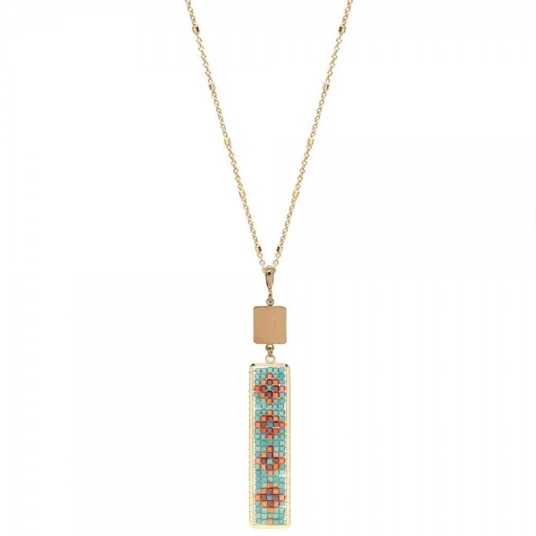 """Long Necklace Featuring Seed Beaded Design Bar Pendant in Gold.  - Pendant 4""""  - Approximately 36"""" Long  - 3"""" Adjustable Extender"""
