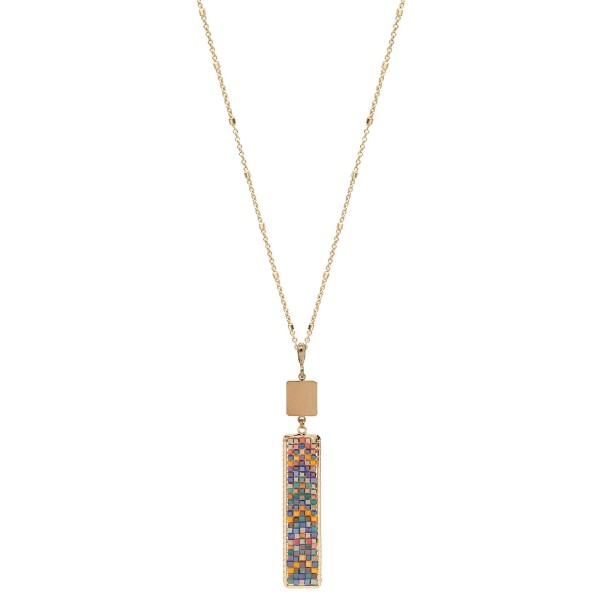 """Long Necklace Featuring Seed Beaded Chevron Bar Pendant in Gold.  - Pendant 3.5""""  - Approximately 36"""" Long - 3"""" Adjustable Extender"""