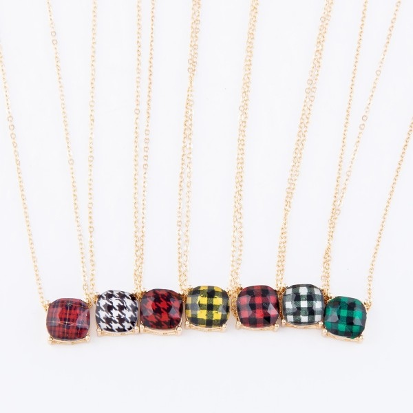 """Houndstooth Crystal Pendant Necklace.  - Pendant 11mm in Size - Approximately 16"""" L  - 3"""" Adjustable Extender"""