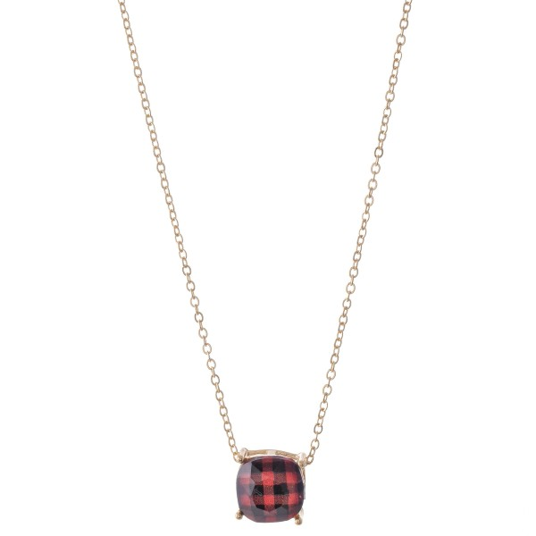 """Buffalo Check Crystal Pendant Necklace.  - Pendant 11mm in Size - Approximately 16"""" L - 3"""" Adjustable Extender"""