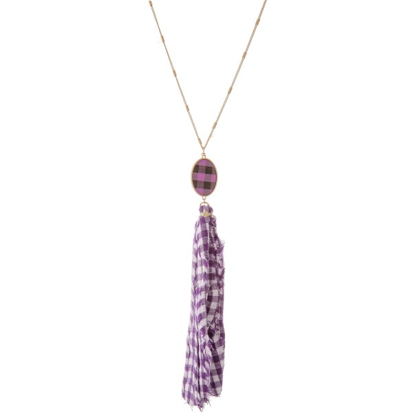 "Buffalo Check Fabric Tassel Pendant Necklace.  - Pendant 6.5"" L - Approximately 42"" L - 3"" Adjustable Extender"