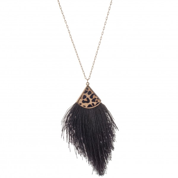 "Long Necklace Featuring Genuine Leopard Print Tassel Pendant.  - Pendant 4"" - Approximately 36"" L - 3"" Adjustable Extender"