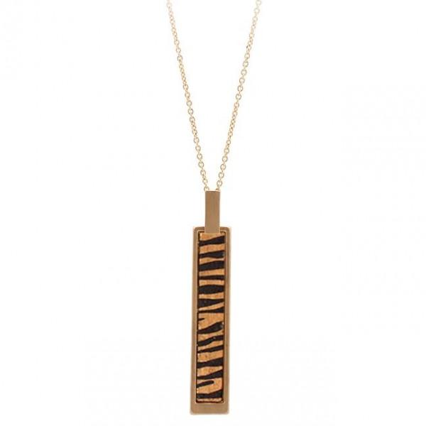 """Metal Encased Wooden Zebra Print Bar Necklace.  - Bar Pendant 3"""" - Approximately 36"""" Long - 3"""" Adjustable Extender"""