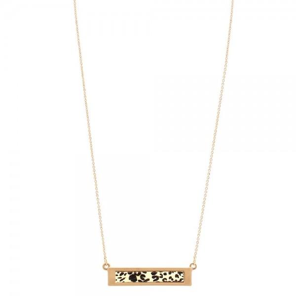 """Metal Encased Wooden Leopard Print Bar Necklace.  - Bar Pendant 1.5""""  - Approximately 16"""" Long - 3"""" Adjustable Extender"""