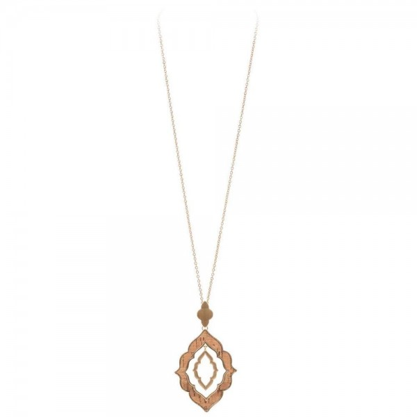 """Long Necklace Featuring Nested Moroccan Cork Pendant in Gold.  - Pendant 3.5"""" - Approximately 36"""" Long - 3"""" Adjustable Extender"""