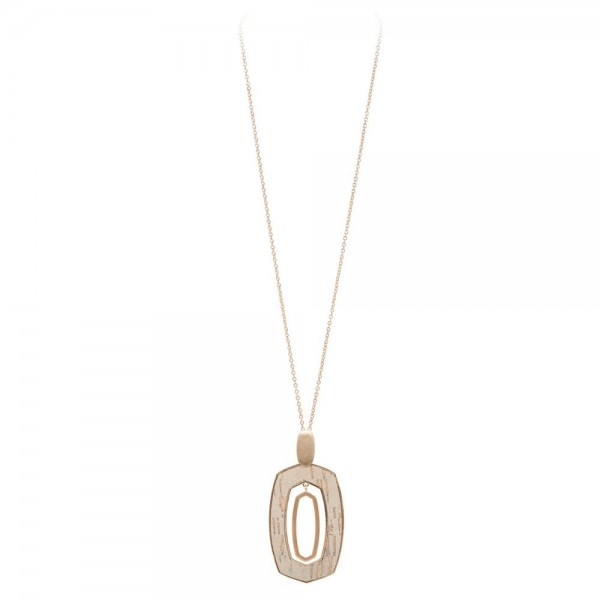 """Long Necklace Featuring Cork Nested Pendant in Gold.  - Pendant 3.5""""  - Approximately 38"""" Long  - 3"""" Adjustable Extender"""