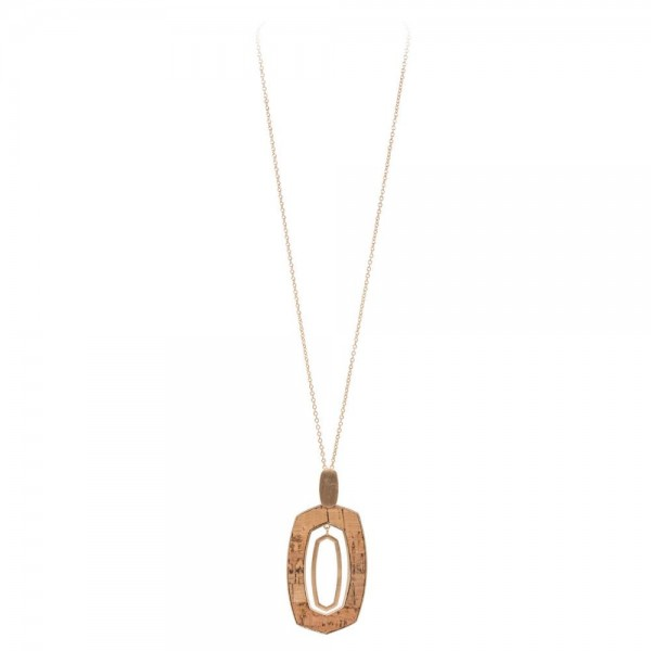 "Long Necklace Featuring Cork Nested Pendant in Gold.  - Pendant 3.5""  - Approximately 38"" Long  - 3"" Adjustable Extender"