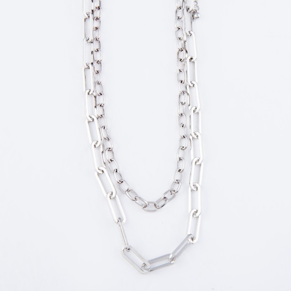 "Chain Link Layered Necklace.  - Approximately 16"" Long - 3"" Adjustable Extender"