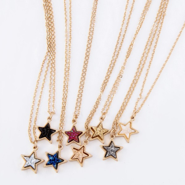 "Druzy Star Pendant Necklace in Gold.  - Pendant 1cm - Approximately 16"" Long  - 3"" Adjustable Extender"