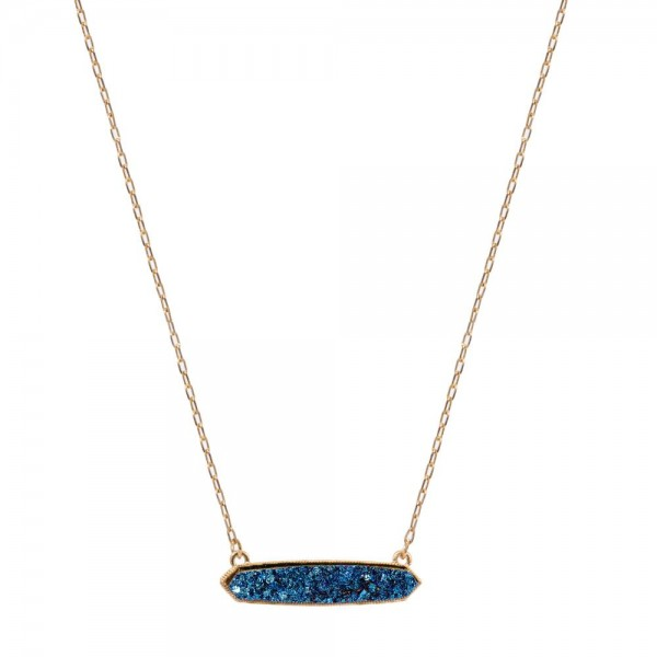 "Druzy Bar Pendant Necklace.  - Pendant 1.5""  - Approximately 16"" Long  - 3"" Adjustable Extender"