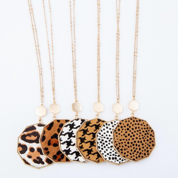 "Long Necklace Featuring Metal Encased Genuine Cheetah Print Hexagon Pendant.  - Pedant 3""  - Approximately 36"" Long - 3"" Adjustable Extender"