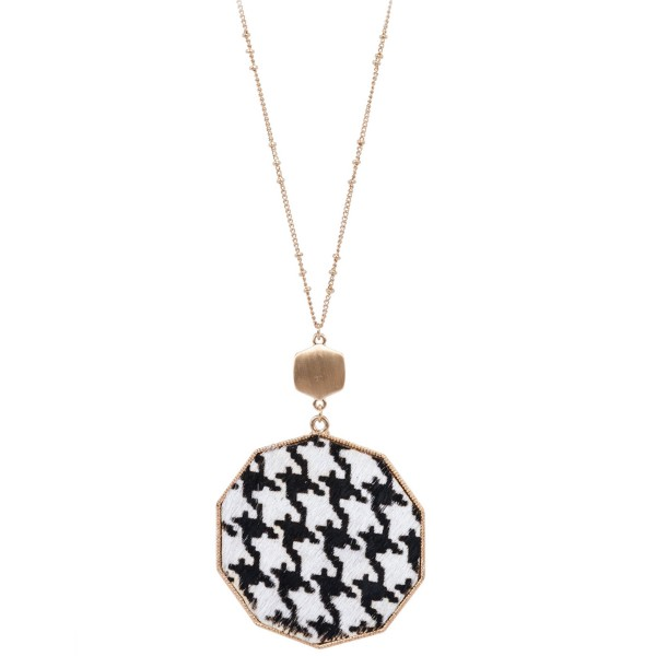 "Long Necklace Featuring Metal Encased Genuine Houndstooth Hexagon Pendant.  - Pedant 3""  - Approximately 36"" Long - 3"" Adjustable Extender"