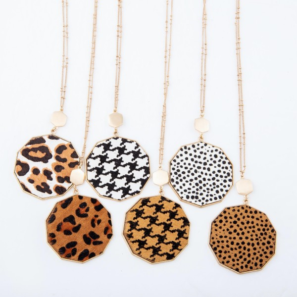 """Long Necklace Featuring Metal Encased Genuine Houndstooth Hexagon Pendant.  - Pedant 3""""  - Approximately 36"""" Long - 3"""" Adjustable Extender"""