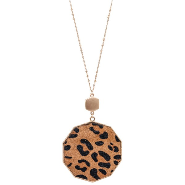 "Long Necklace Featuring Metal Encased Genuine Leopard Print Hexagon Pendant.  - Pedant 3""  - Approximately 36"" Long - 3"" Adjustable Extender"