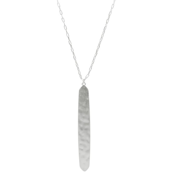 "Long Necklace Featuring Hammered Bar Pendant in a Satin Finish.  - Bar Pendant 3.25"" - Approximately 36"" Long  - 3"" Adjustable Extender"